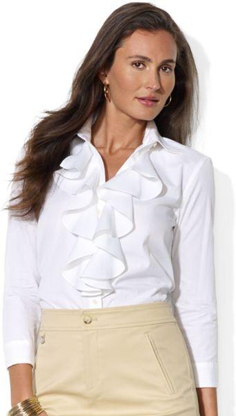 White Long Sleeve Ruffle Front Blouse 103