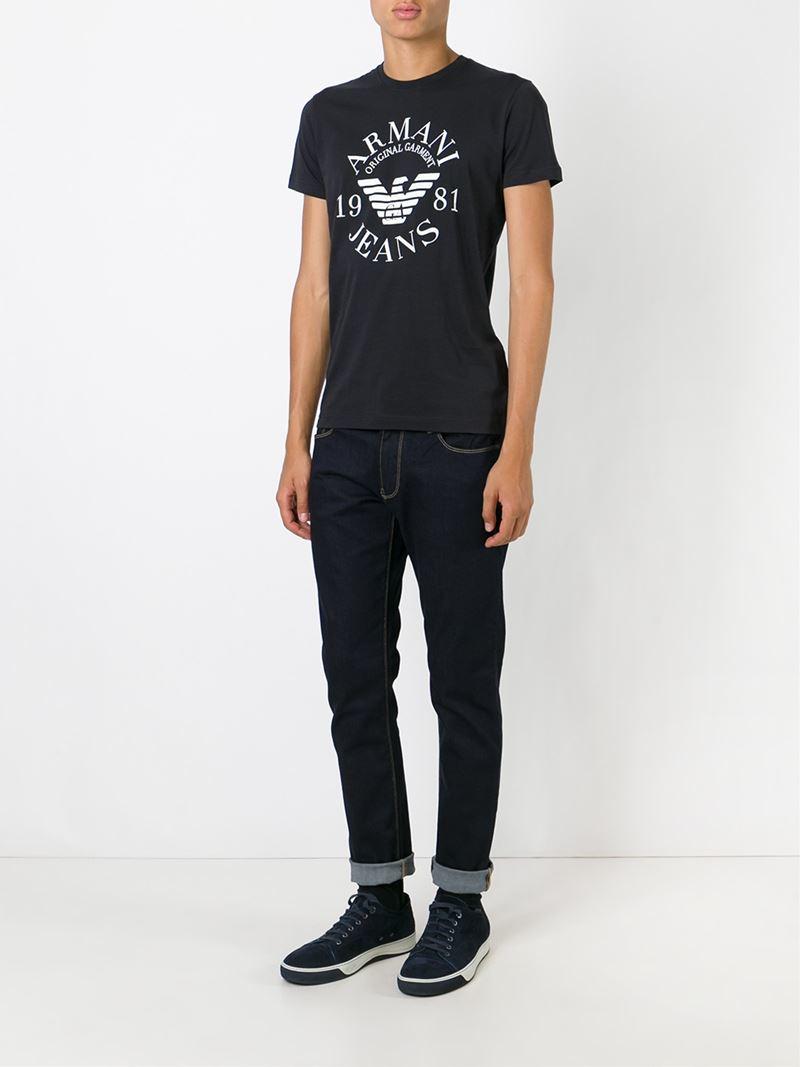 armani jeans logo print t shirt in blue for men lyst. Black Bedroom Furniture Sets. Home Design Ideas