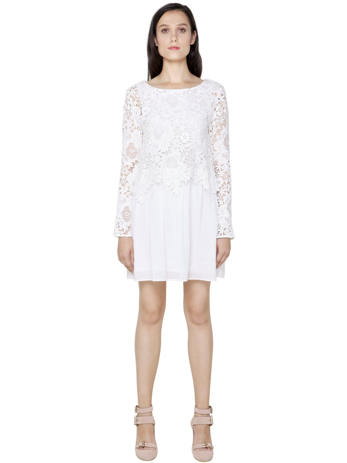 Lace and cotton minidress See By Chlo rqxcKC7