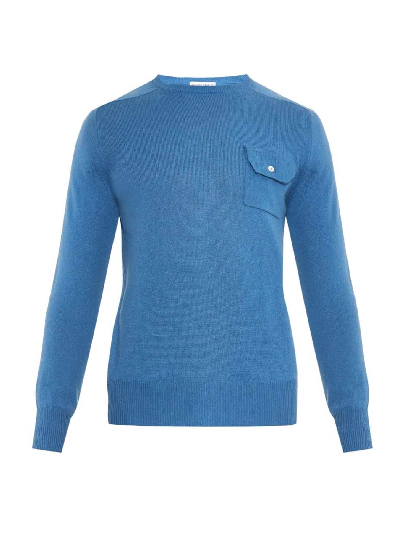 Michael bastian Chest-Pocket Cashmere Sweater in Blue for Men | Lyst
