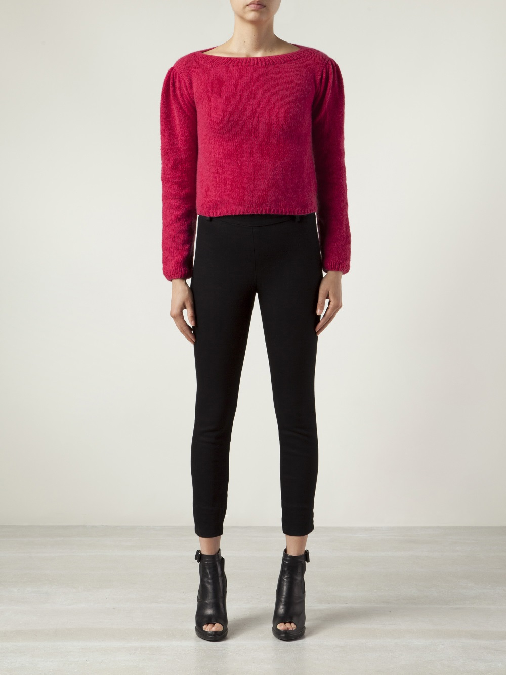 Ryan roche Cashmere Cropped Sweater in Pink   Lyst