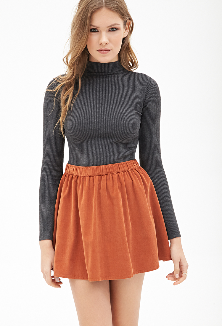 Forever 21 Contemporary Flared Corduroy Mini Skirt in Brown | Lyst