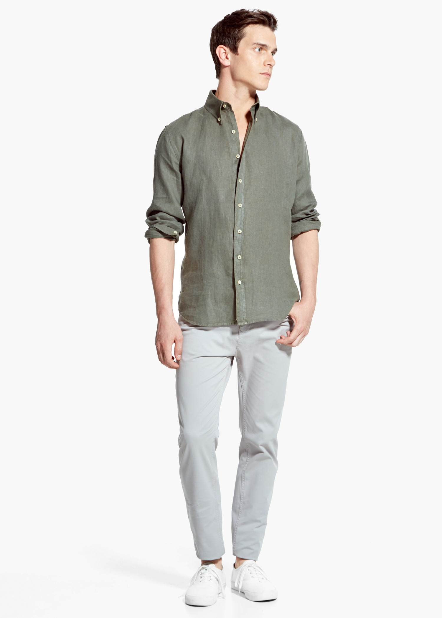 85142c269f Mango Slim-Fit Linen Shirt in Natural for Men - Lyst