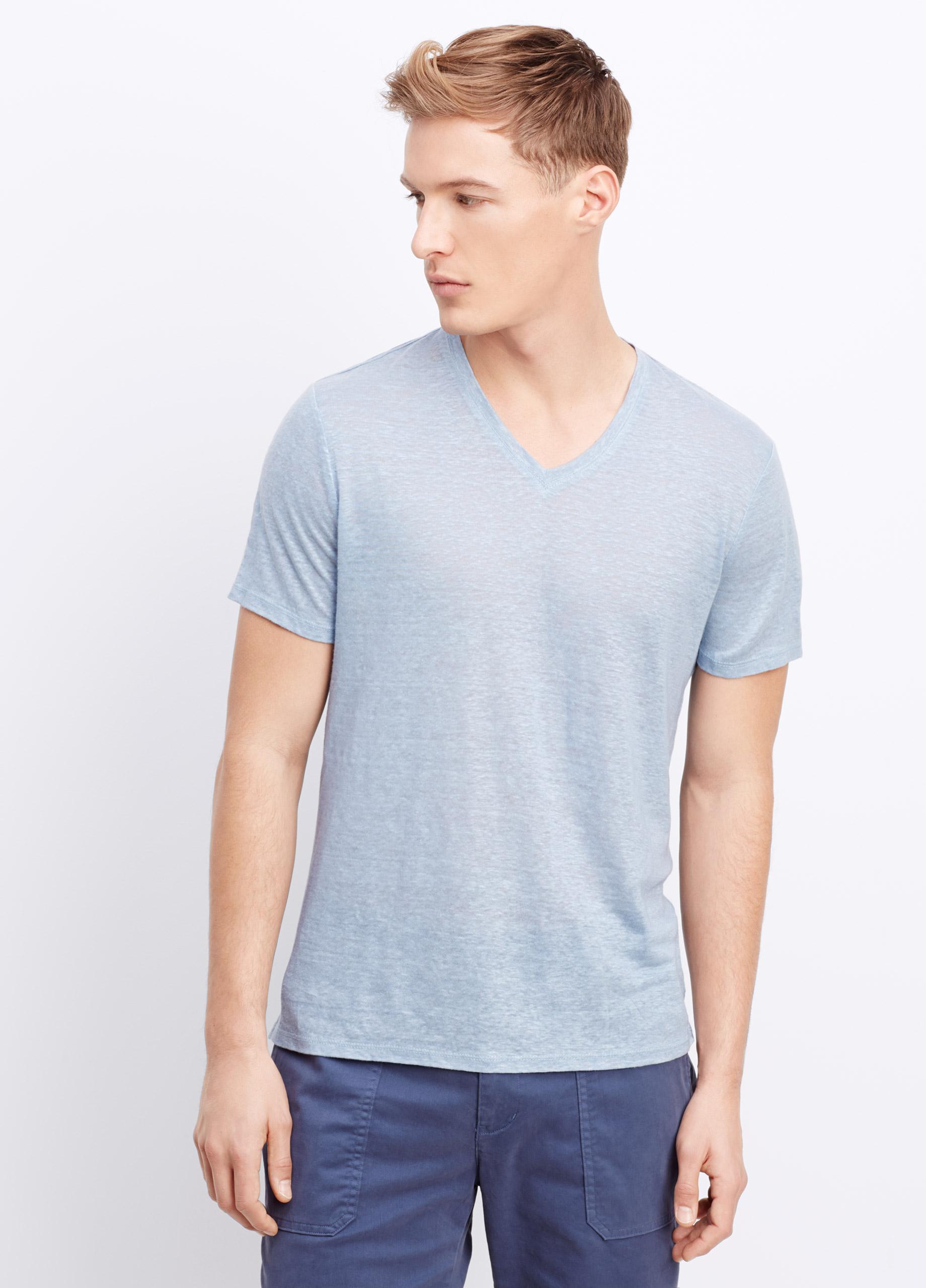 Lyst Vince Linen Short Sleeve V Neck Tee In Blue For Men