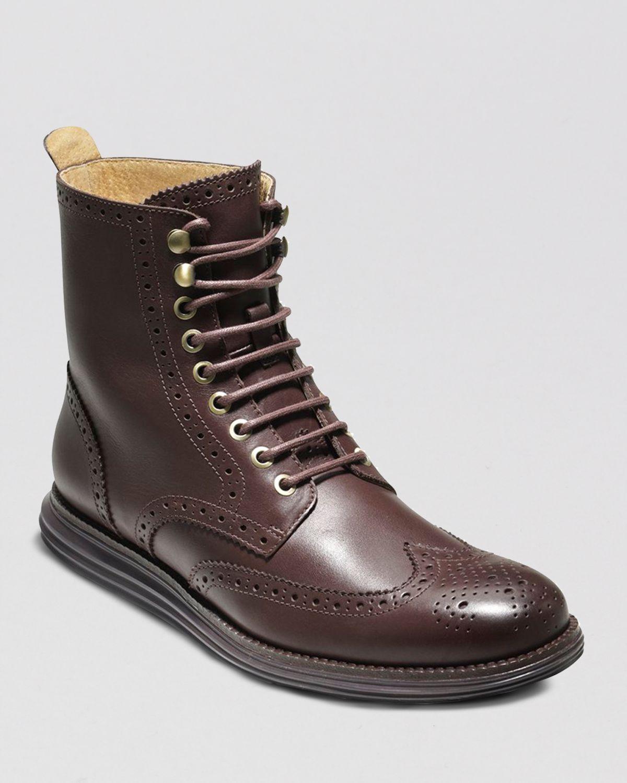 Cole Haan Lunargrand Wingtip Boots In Brown For Men