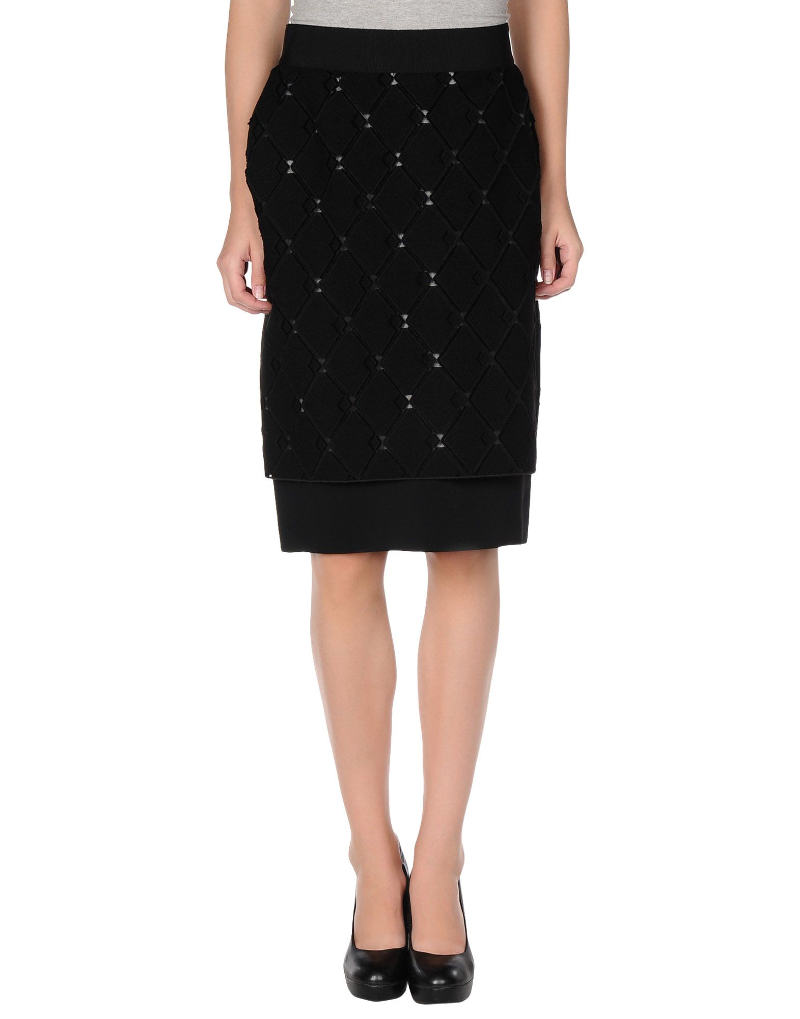 mantu knee length skirt in black save 77 lyst