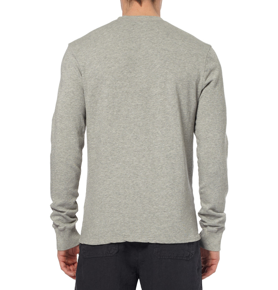 Lyst James Perse Cotton Jersey Henley T Shirt In Gray