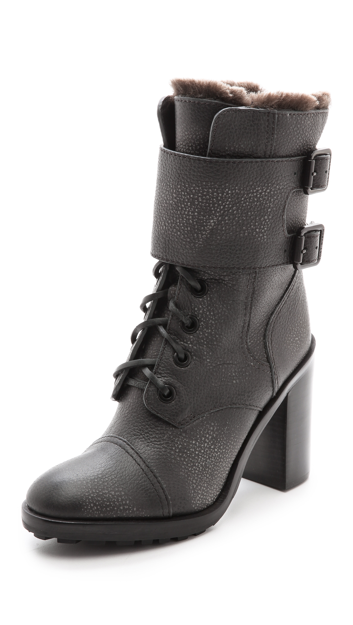 60c92d64b8f47 Lyst - Tory Burch Broome Combat Boots With Shearling Lining - Irish ...