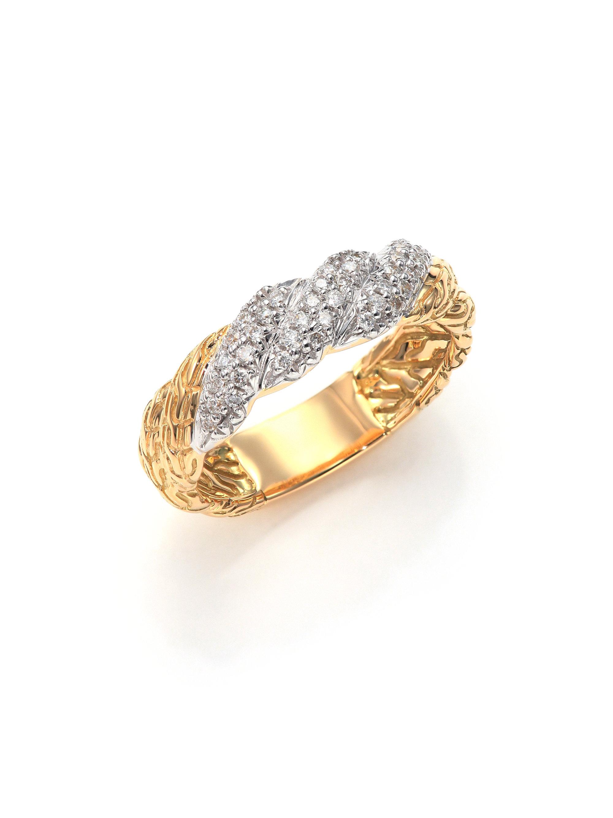 lyst john hardy classic chain diamond 18k yellow gold. Black Bedroom Furniture Sets. Home Design Ideas