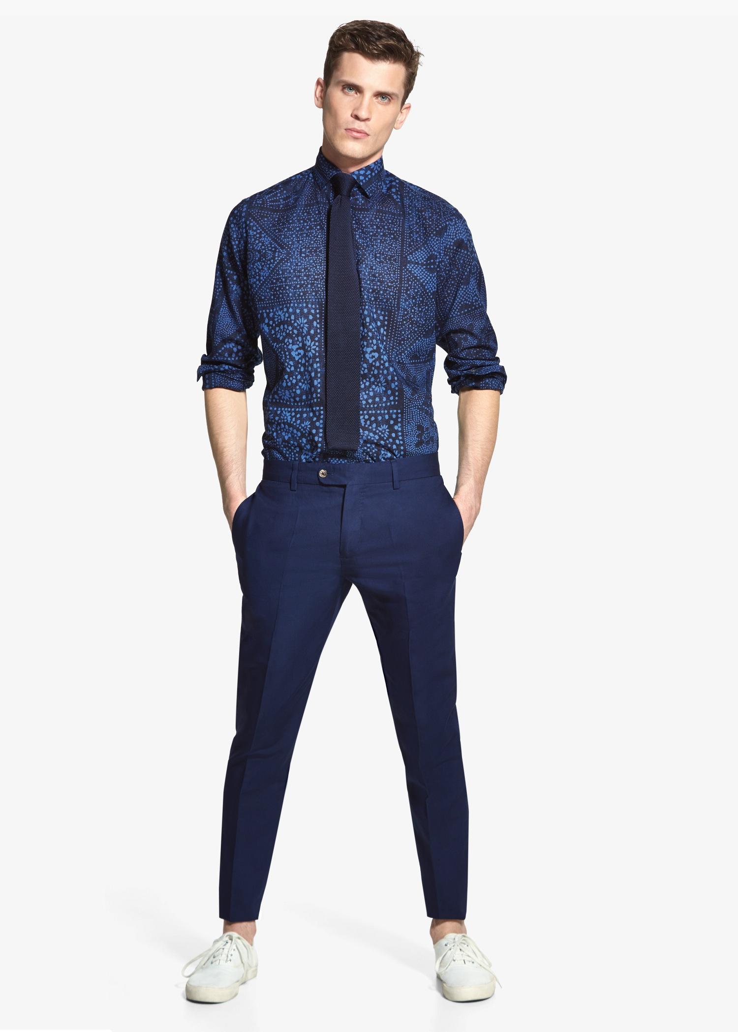 Mango Suit Linen Trousers in Blue for Men | Lyst