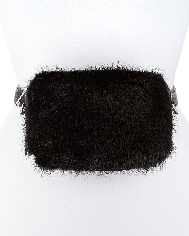 Prada Nappa Bomber \u0026amp; Mink Fur Belt Bag in Black | Lyst