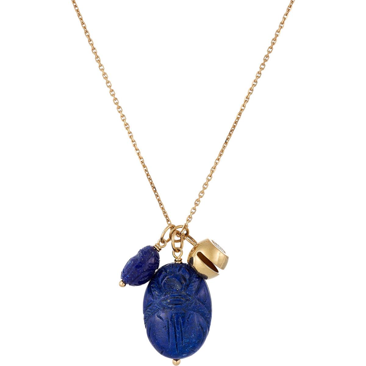 Aurelie Bidermann Carved Scarab Amp Bell Pendant Necklace In