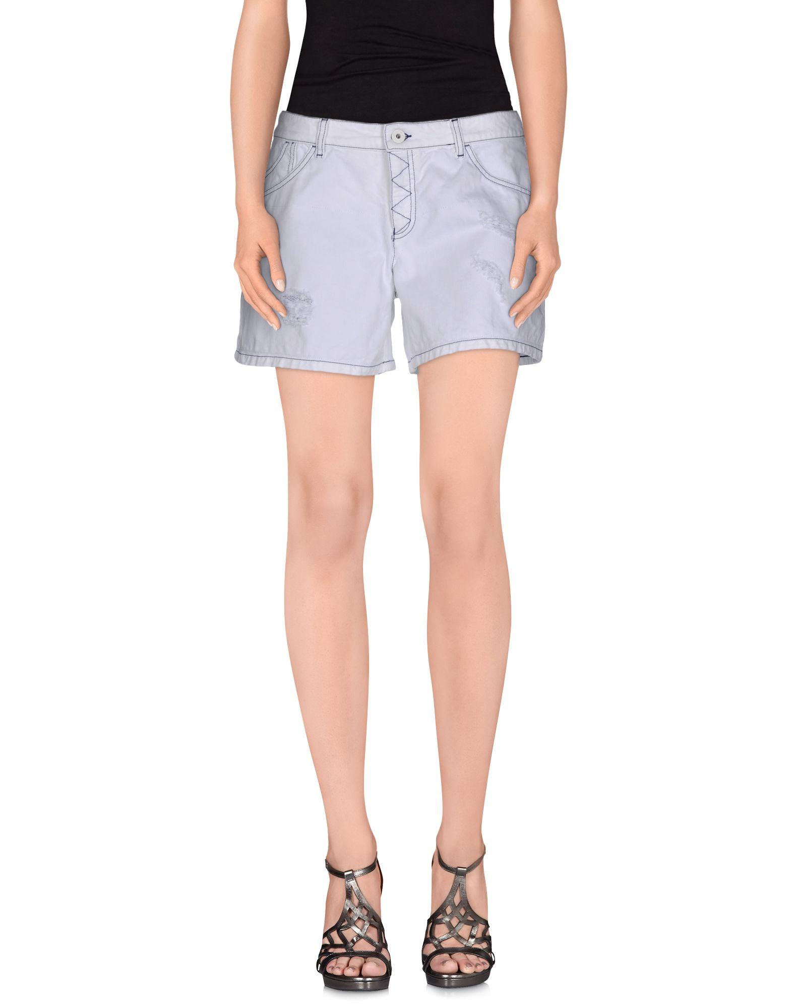 Emporio armani Denim Shorts in White | Lyst