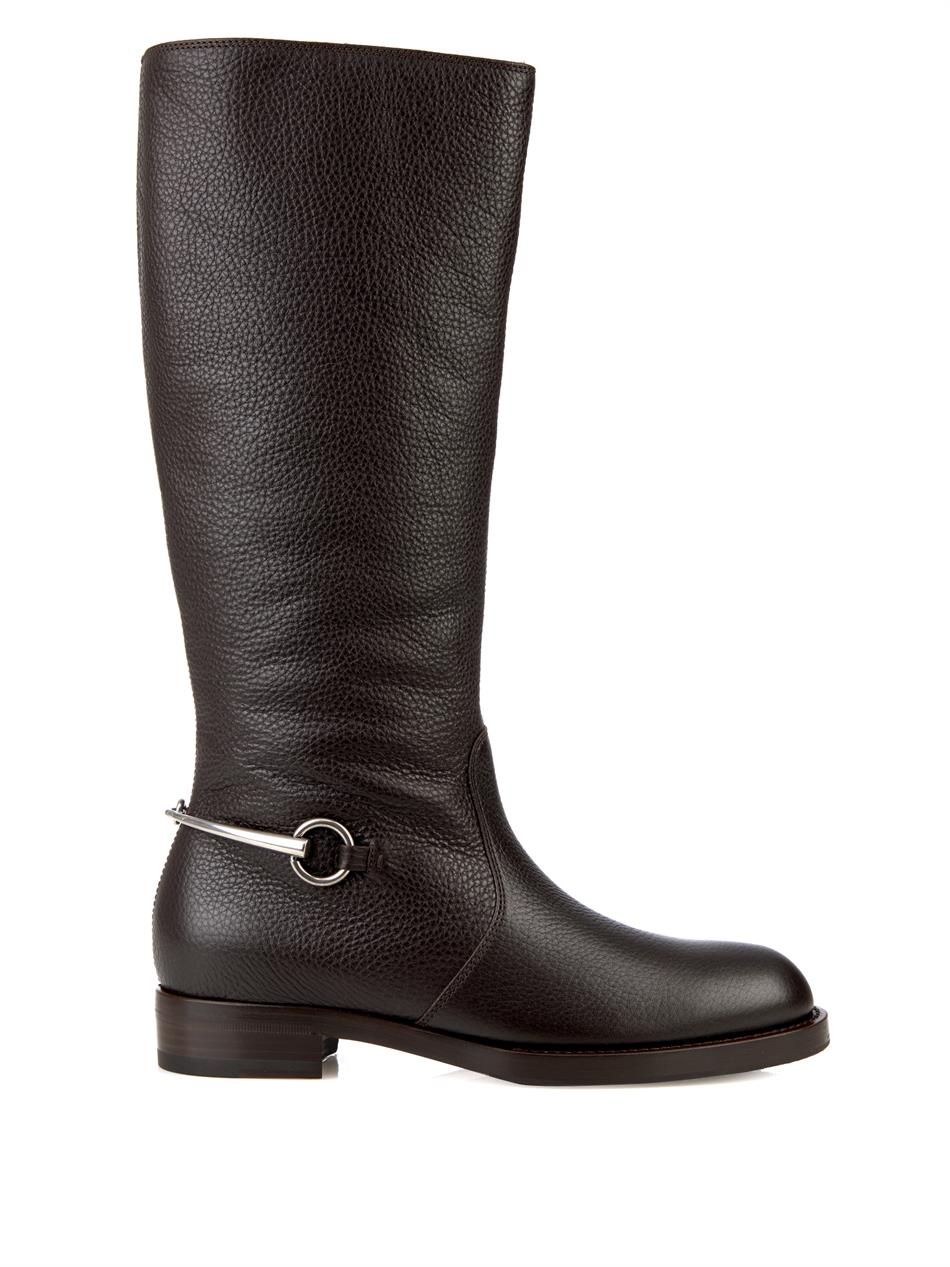 gucci horsebit leather boots in brown lyst