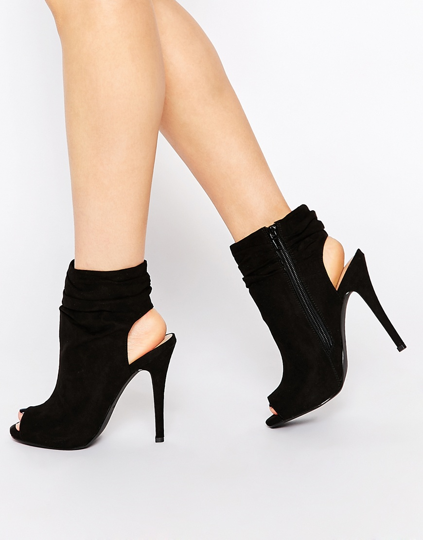 Lyst - Call It Spring Talewen Black Peep Toe Heeled Shoe Boots in Black be2755598