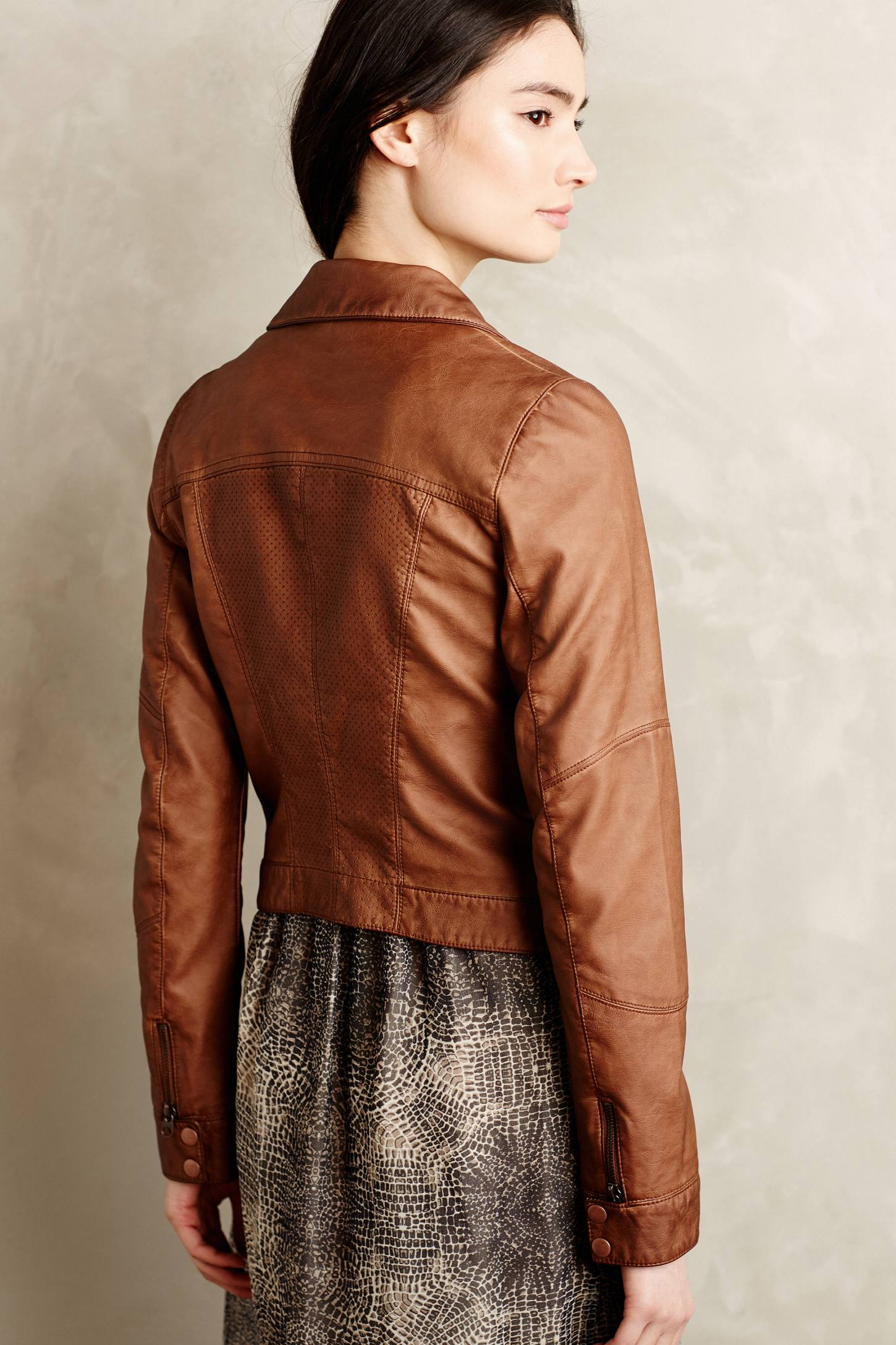Hei hei Perfed Vegan Leather Moto Jacket in Brown | Lyst