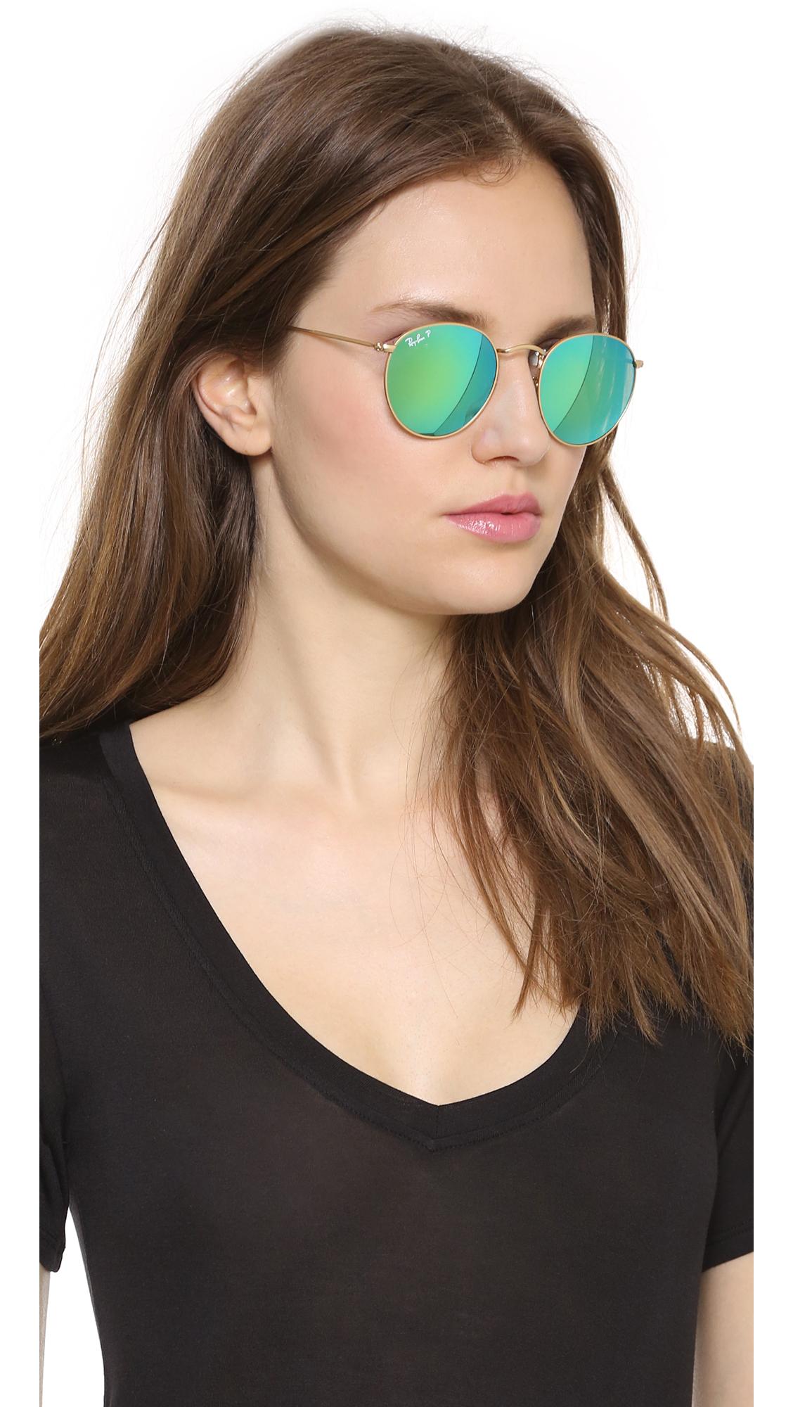 8b0504b1a Ray-Ban Mirrrored Polarized Icons Sunglasses - Matte Gold/Green ...