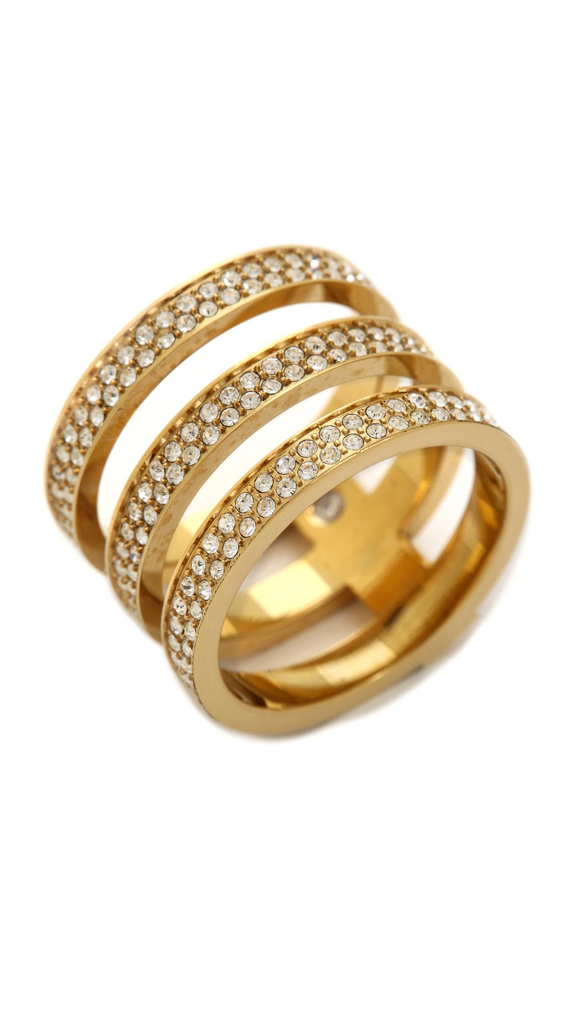 Michael Kors Tri Stack Open Pave Bar Ring Goldclear In