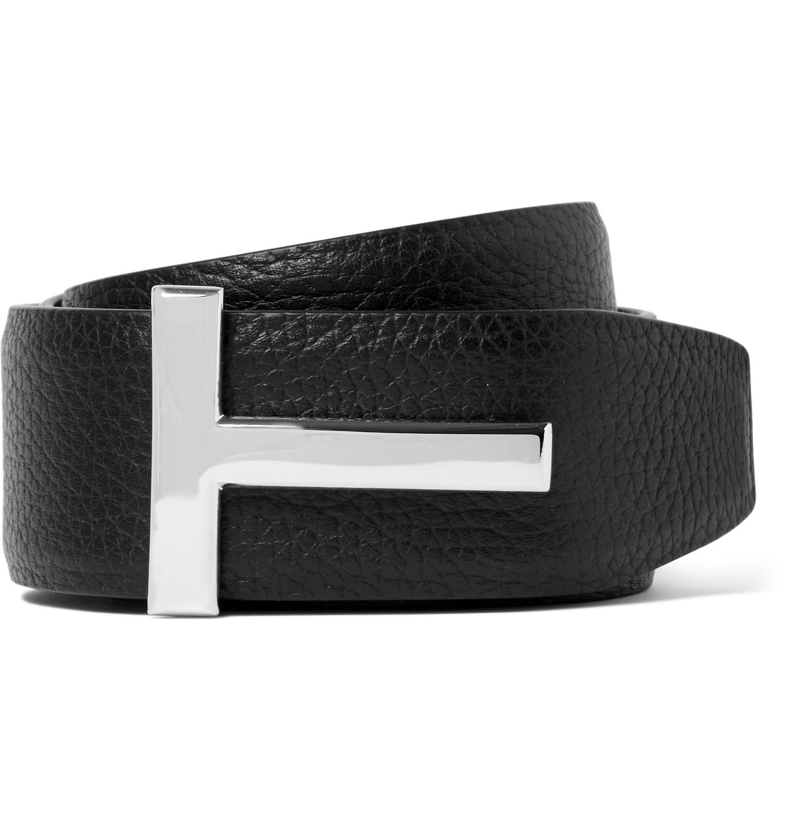 3d4390b748c Tom Ford 4cm Black Grained-leather Belt in Black for Men - Lyst