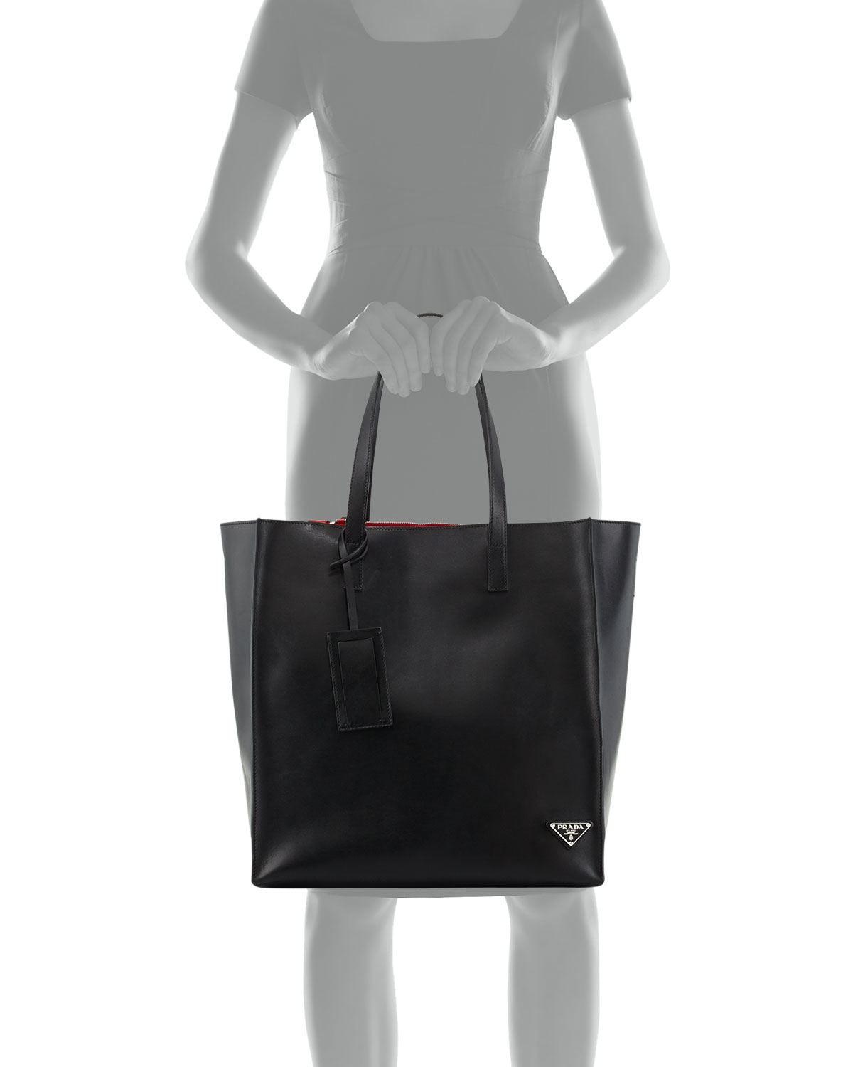 de4fd12ddcaf Prada Soft Leather Tote Bag in Black - Lyst