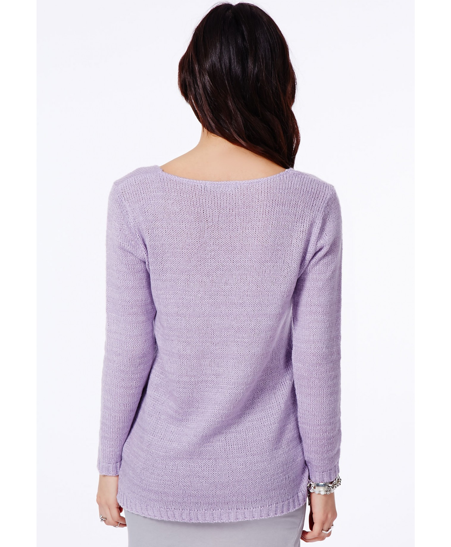 1dc51200549 Lyst - Missguided Ollie V-Neck Fluffy Knit Jumper In Lilac in Purple