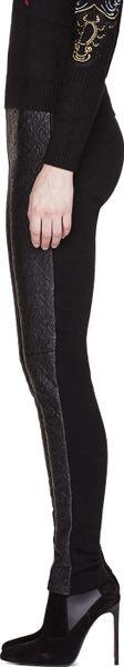 Kenzo Black Leather And Knit Embossed Fashion Leggings Kenzo Black Leather and