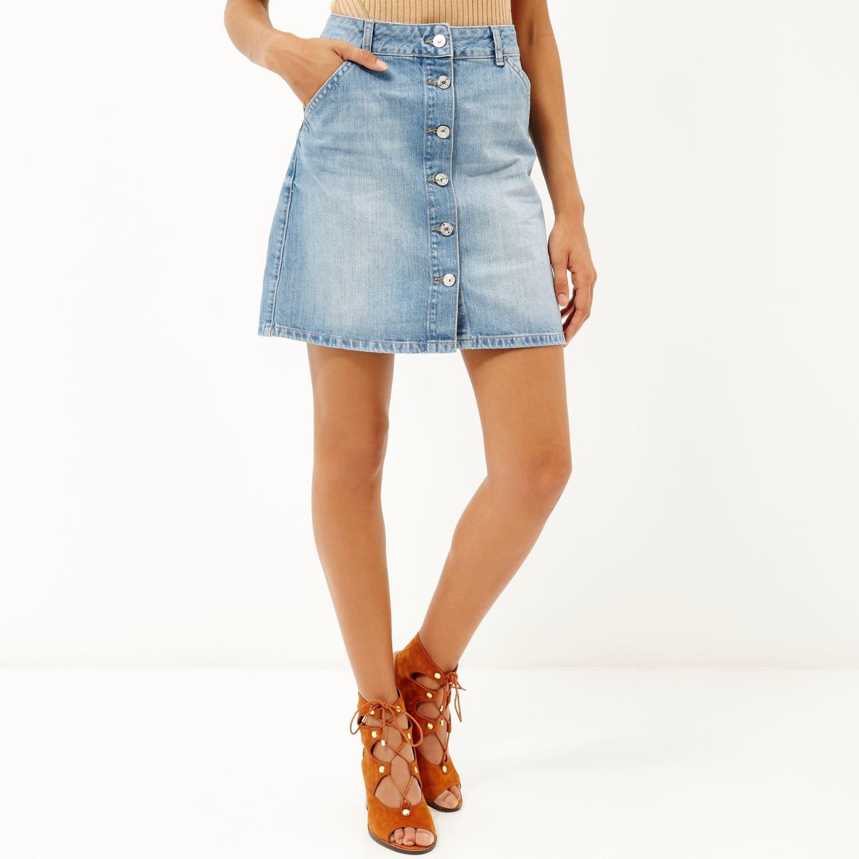 river island mid wash denim buttoned mini skirt in blue lyst