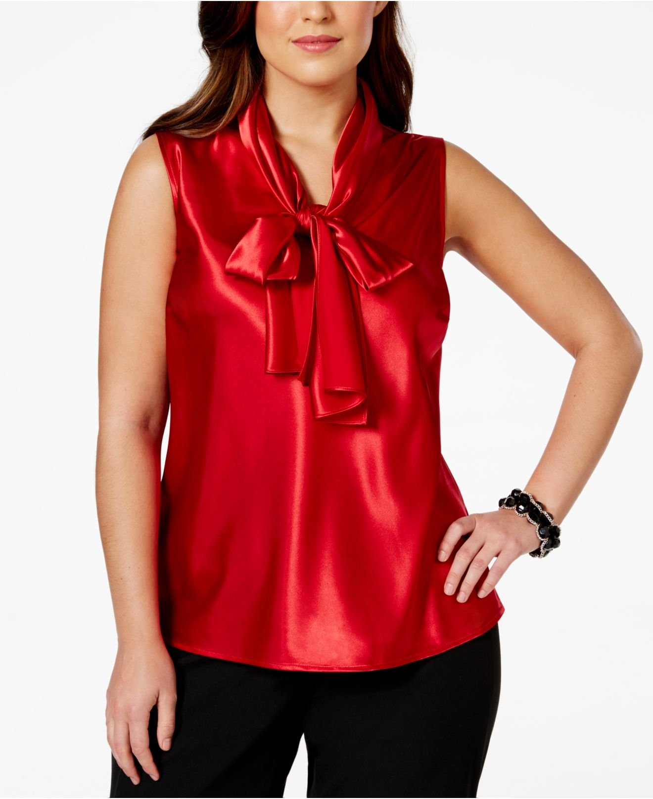 93821a29f56c6 Lyst Nine West Plus Size Bow Tie Satin Blouse In Red