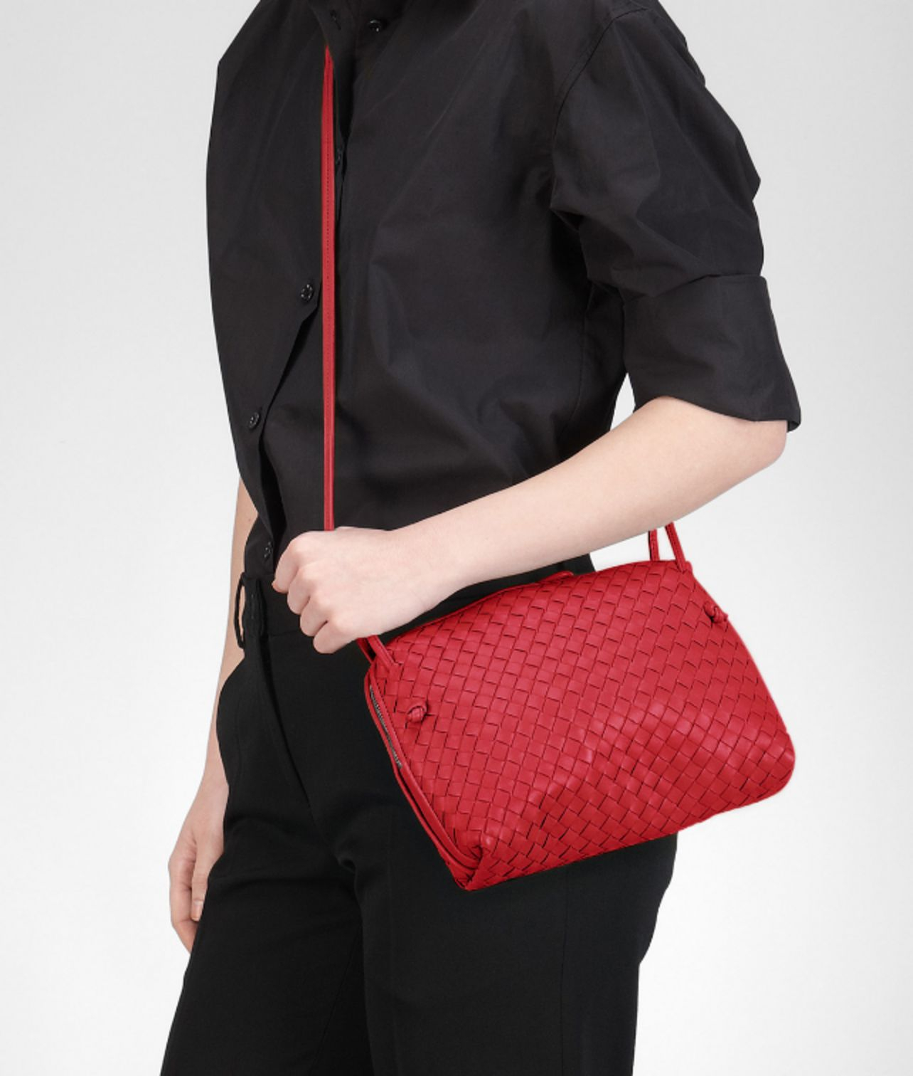 5415d338ab95 Lyst - Bottega Veneta Fraise Intrecciato Nappa Cross Body Bag in Red