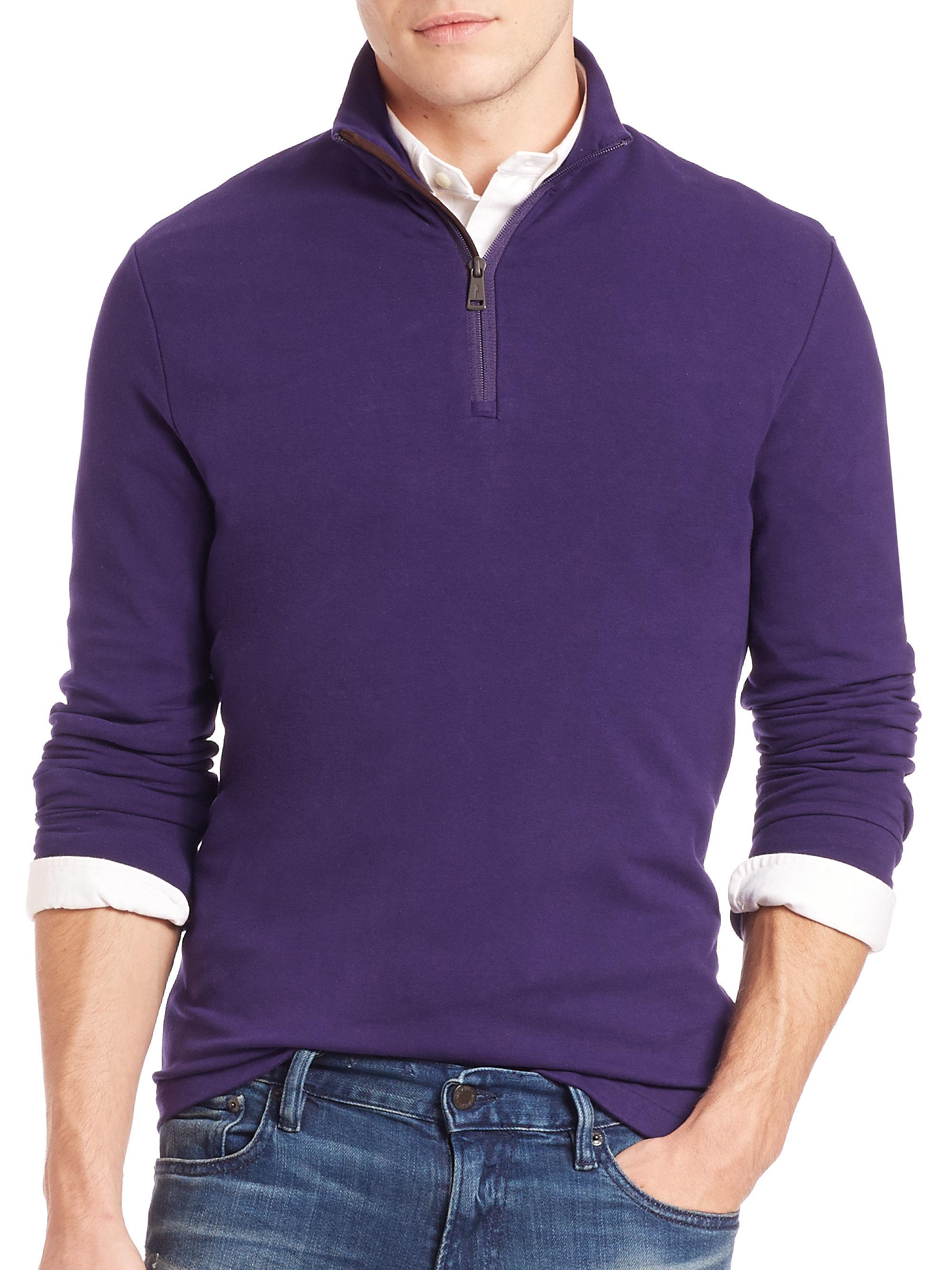polo ralph lauren half zip pima cotton pullover in purple for men. Black Bedroom Furniture Sets. Home Design Ideas