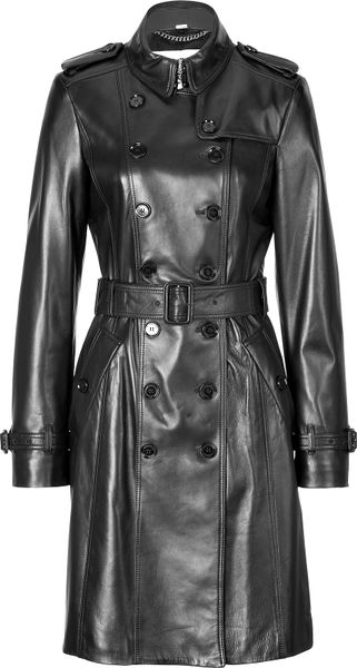 Burberry Leather Elstree Trench Coat In Black Lyst