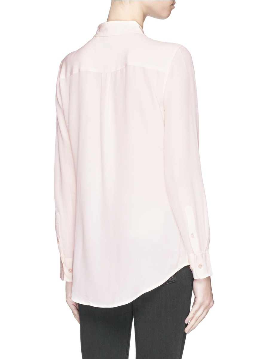 Lyst equipment 39 slim signature 39 silk shirt in pink for Equipment signature silk shirt