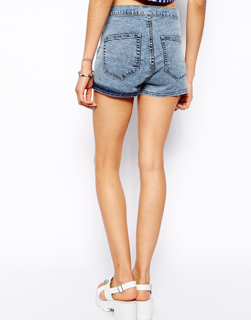 Pull&bear Acid Wash High Waist Shorts in Blue | Lyst