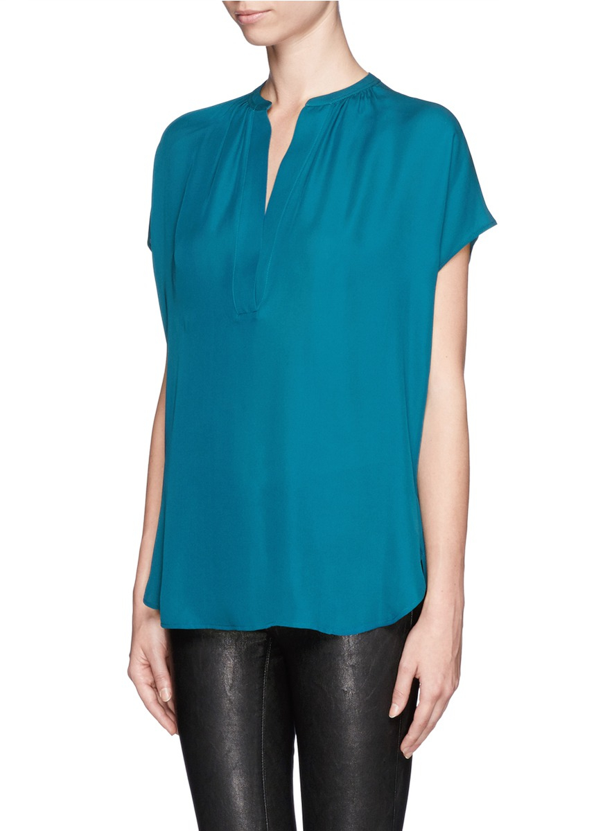 Vince V-neck Silk Blouse in Green | Lyst