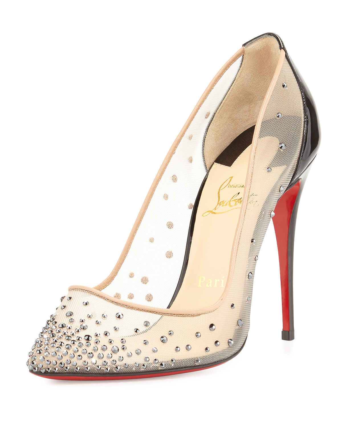 info for ff757 2059d christian louboutin mesh-accented round-toe pumps, sneaker ...