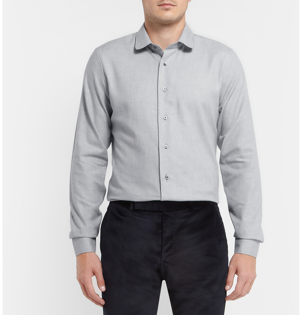 Gucci blue slim fit cotton and cashmere blend shirt in for Gucci t shirts online india