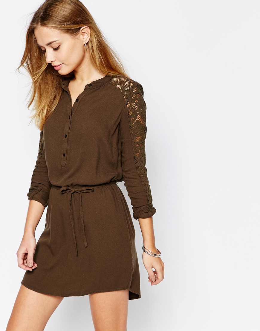 34fc9ebe671 Vila Lace Sleeve Belted Shirt Dress in Brown - Lyst
