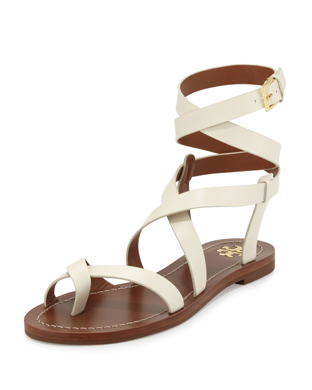 6f0fd908bac Lyst - Tory Burch Patos Crisscross Leather Sandal in White