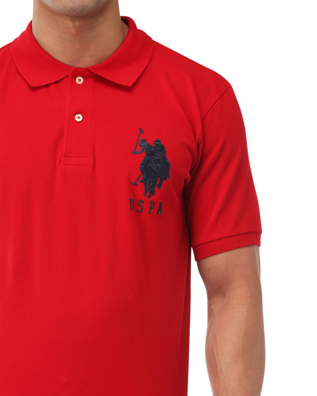 Lyst Us Polo Assn Big Logo Polo Shirt In Red For Men