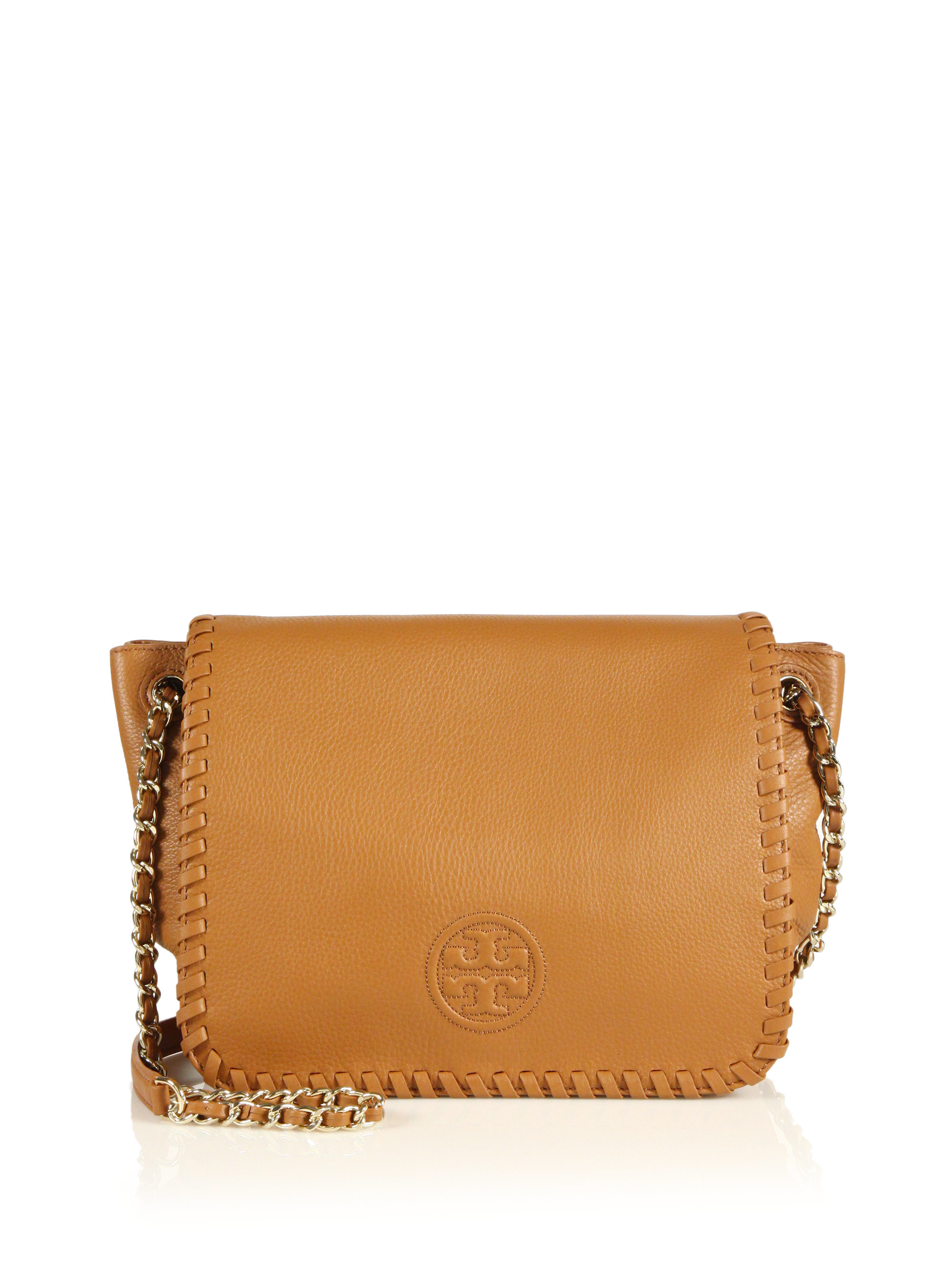 1ca56ebdced2 Lyst - Tory Burch Marion Small Leather Flap Shoulder Bag in Brown