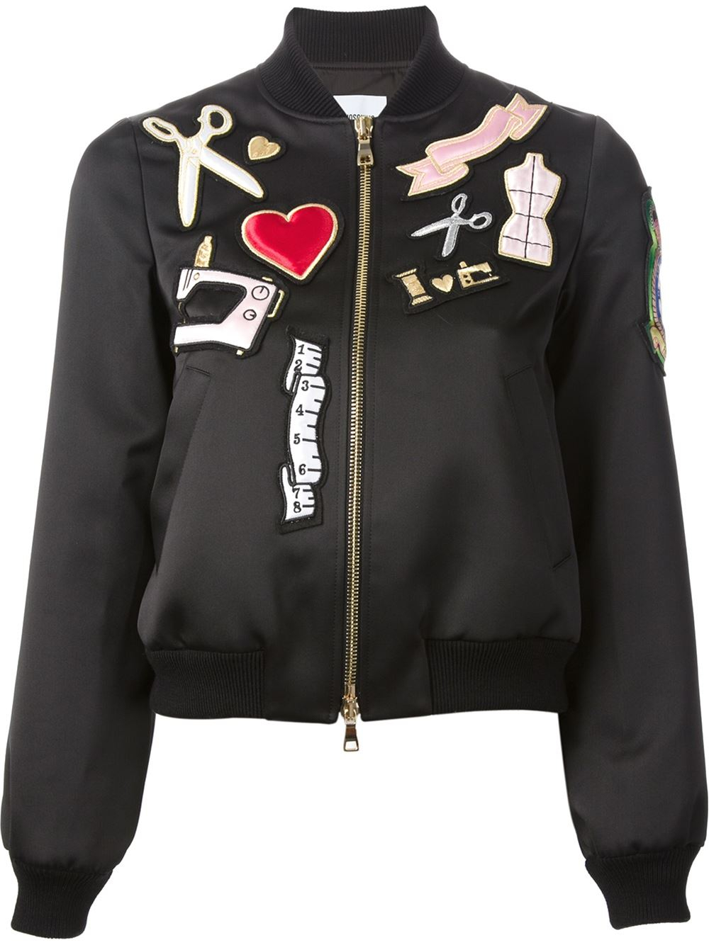 Lyst - Boutique Moschino Patch Bomber Jacket In Black