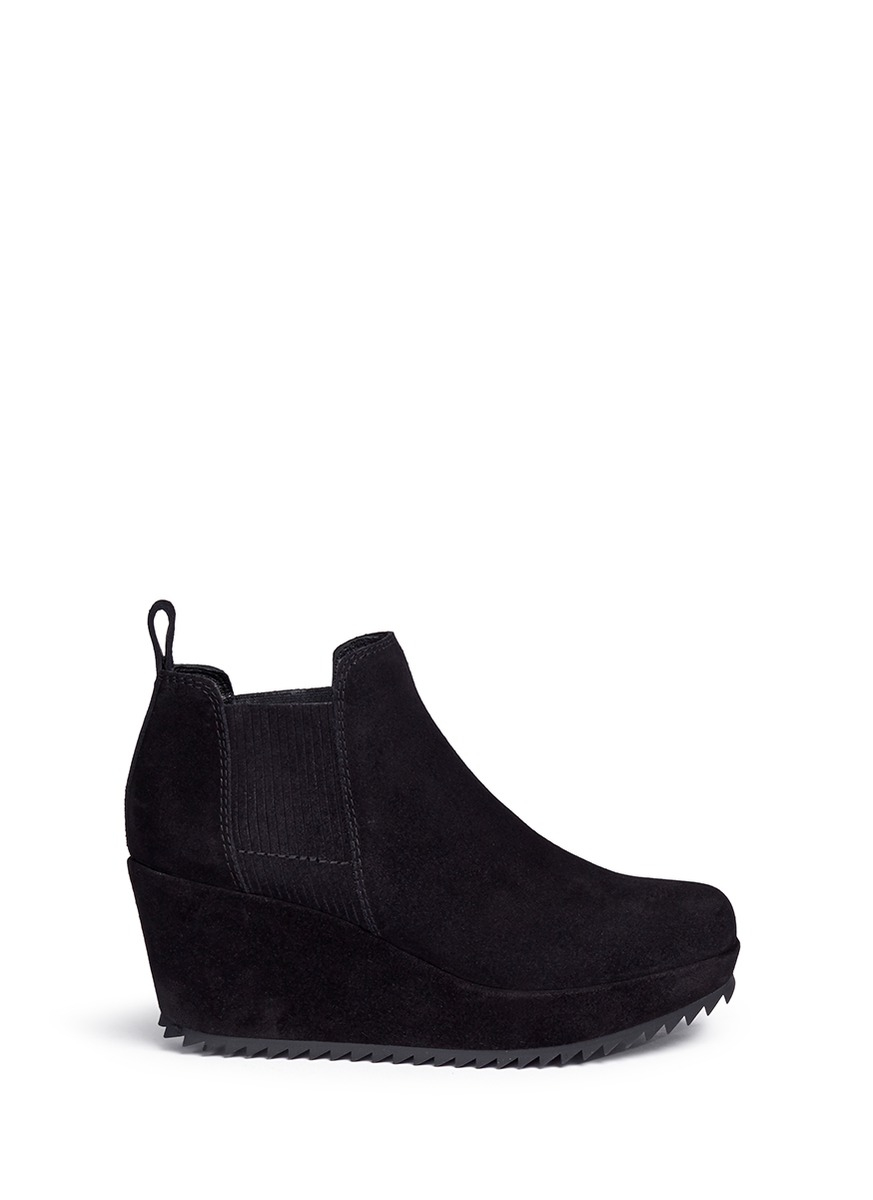 Lyst Pedro Garcia Fawn Suede Wedge Boots In Black