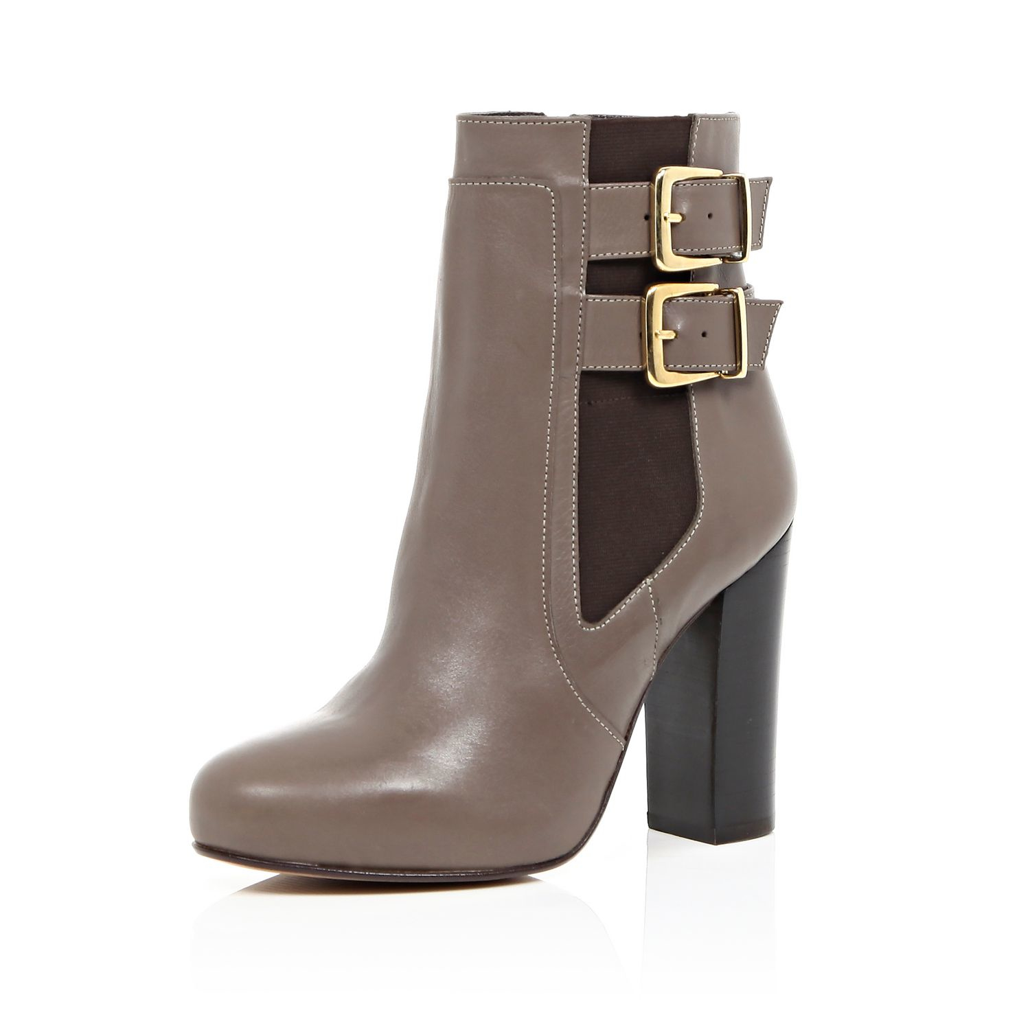 river island beige leather buckle heeled ankle boots in