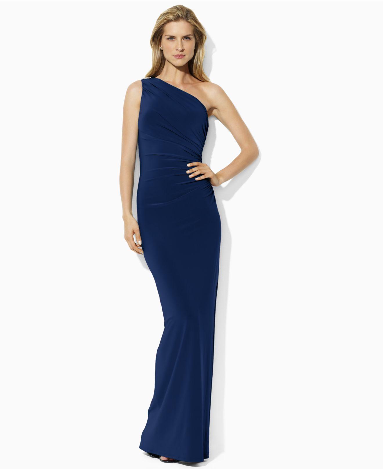 Lyst - Lauren By Ralph Lauren One-Shoulder Evening Gown in Blue