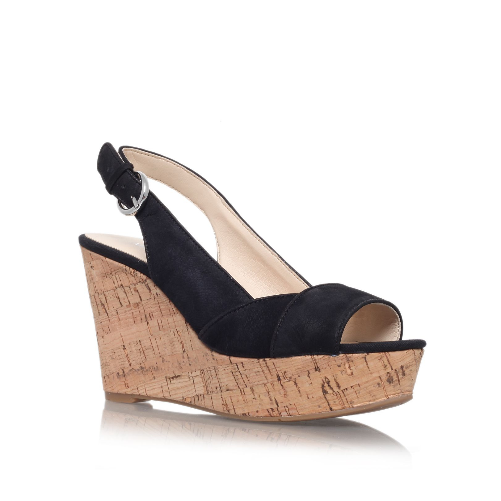 nine west caballo high heel wedge shoes in black lyst