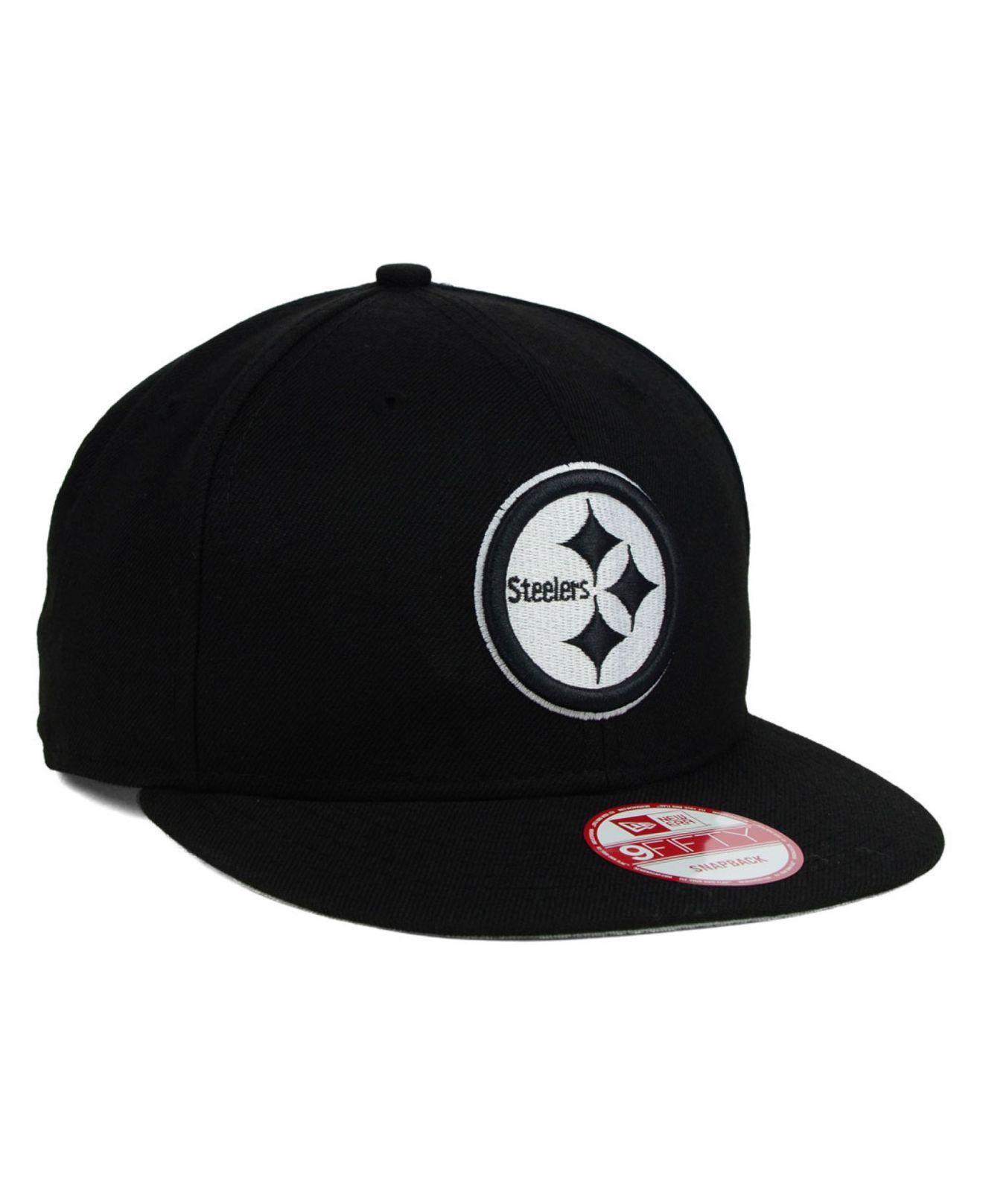 43d527e17 Lyst - KTZ Pittsburgh Steelers Black White 9Fifty Snapback Cap in ...