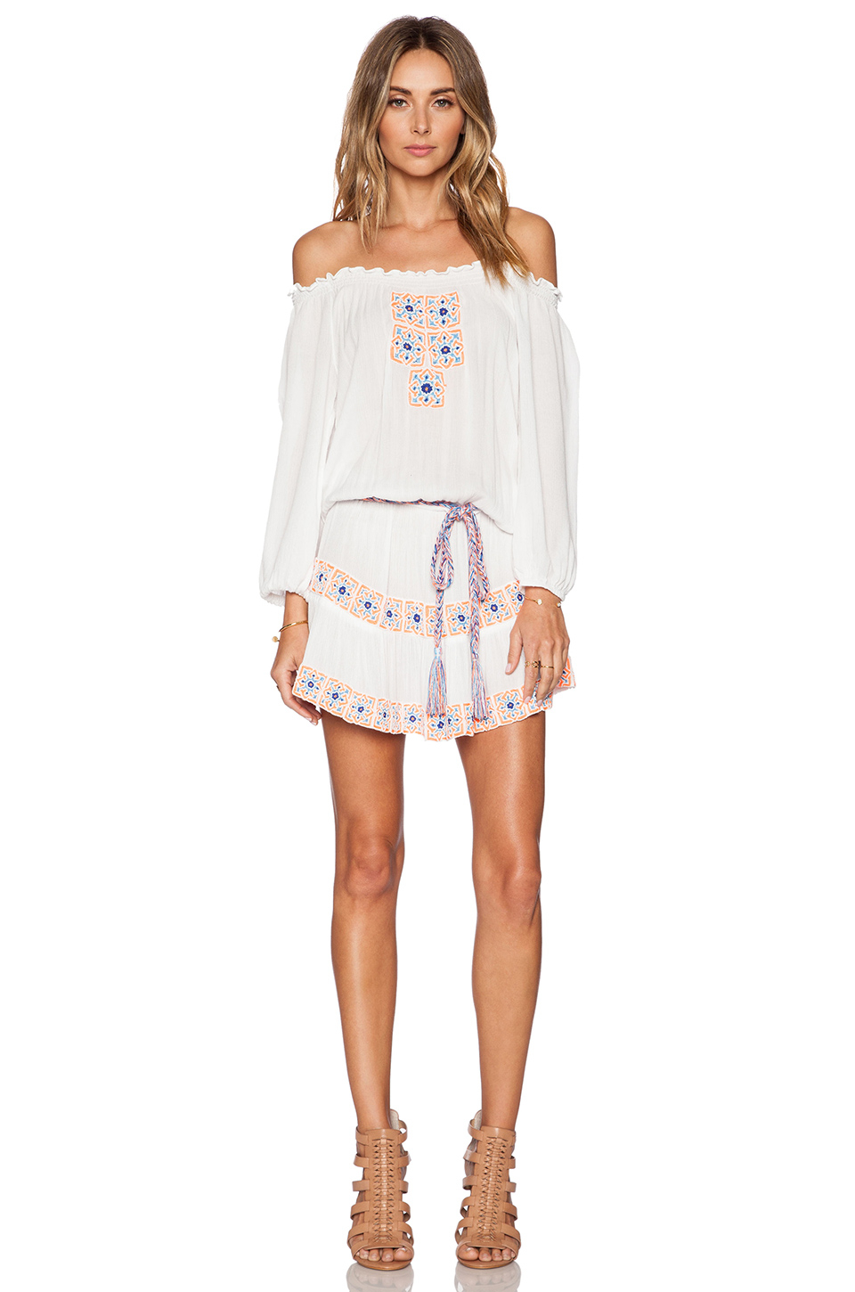 Pia pauro embroidered dress in white lyst
