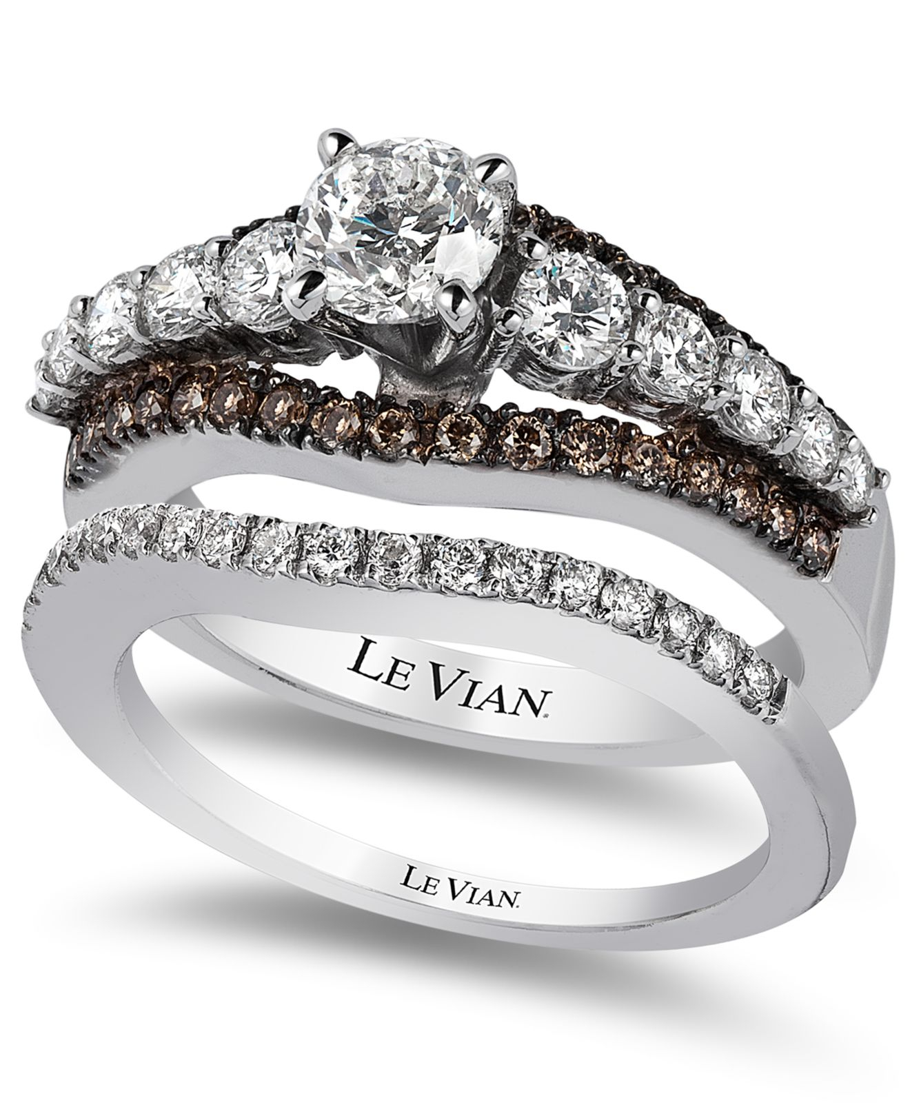 Le vian Bridal Certified White And Chocolate Diamond Engagement