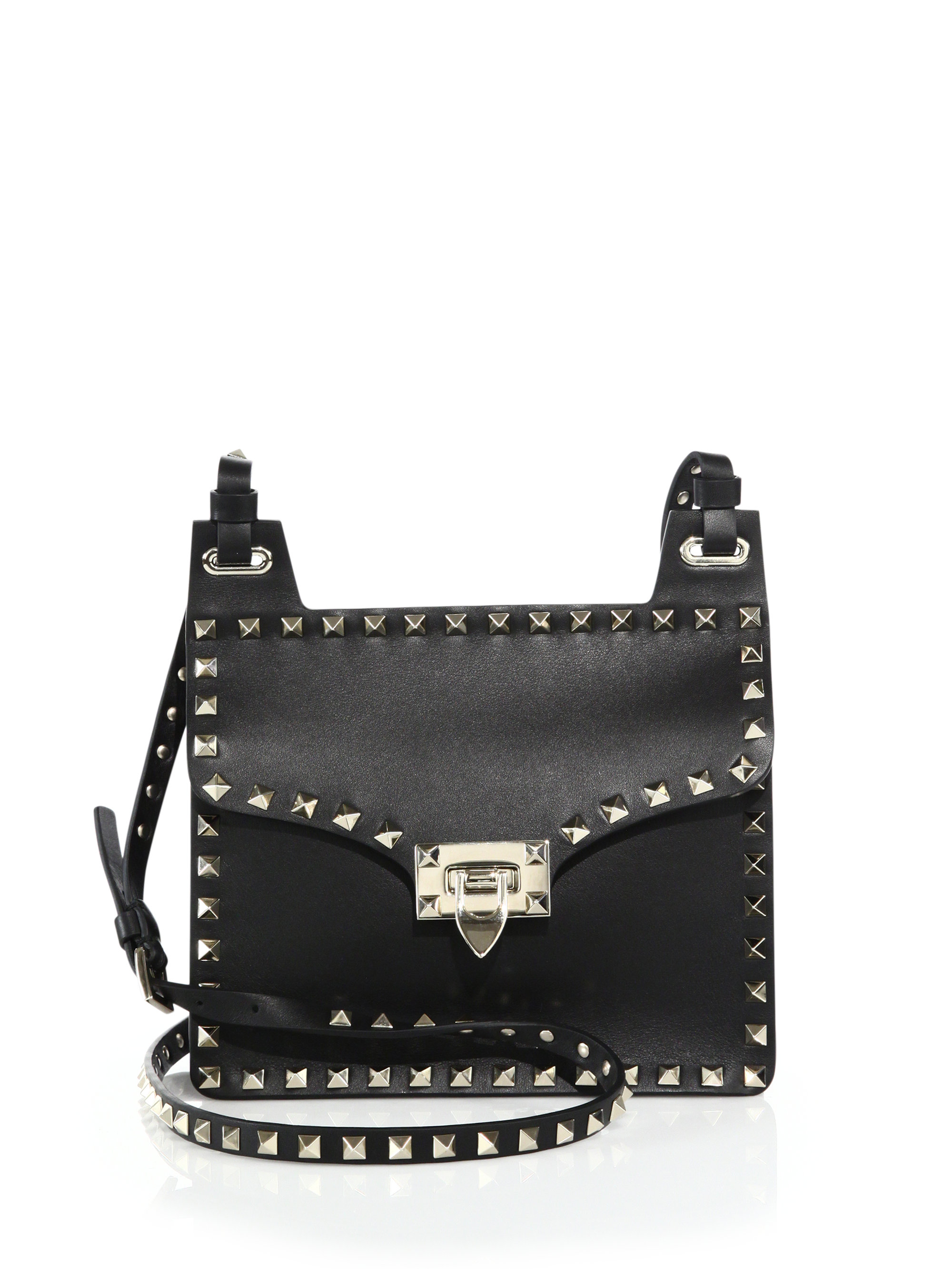 5bd9b3741951 Lyst - Valentino Rockstud Leather Crossbody Bag in Black