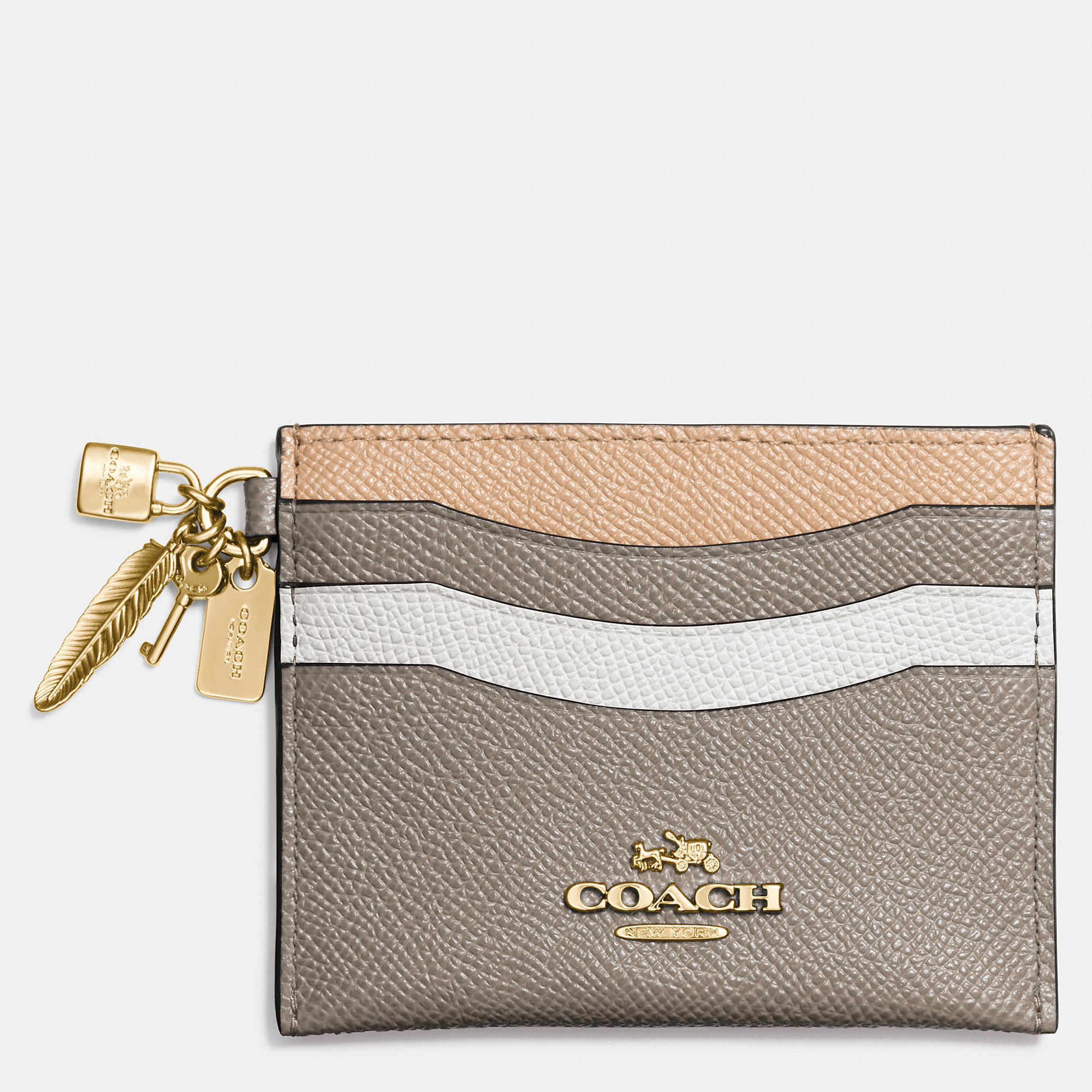 Coach Charm Flat Card Case In Colorblock Leather in Metallic : Lyst